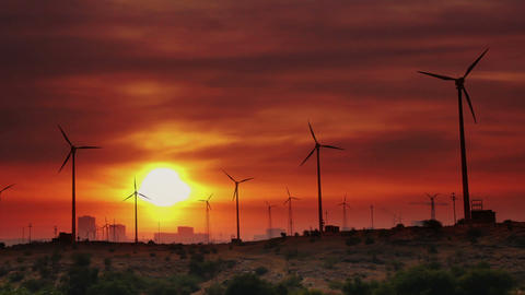 wind farm - turning windmills against timelapse su Footage