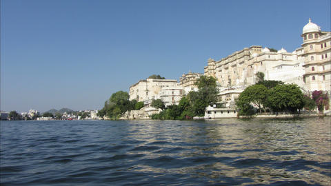 timelapse view from boat on lake and palaces in Ud Stock Video Footage