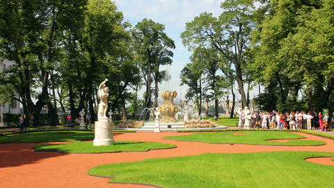 Summer garden park in St. Petersburg Russia - time Stock Video Footage