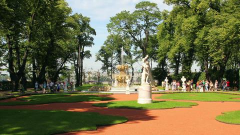Summer garden park in St. Petersburg Russia - time Stock Video Footage