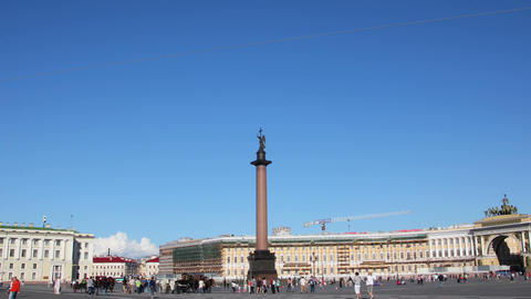 Alexander column on Palace Square, St. Petersburg Stock Video Footage