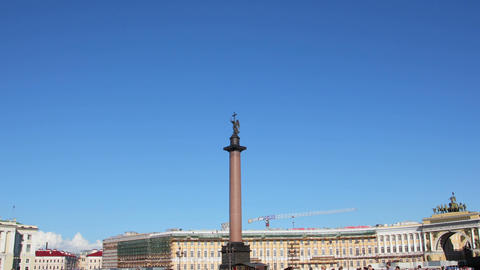 Alexander column on Palace Square, St. Petersburg  Footage