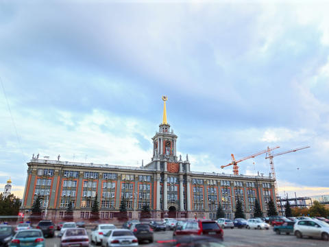 City Hall. Ekaterinburg, Russia. Time Lapse. 4x3 Footage