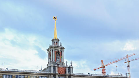 Tower City Hall. Ekaterinburg, Russia. Time Lapse Footage