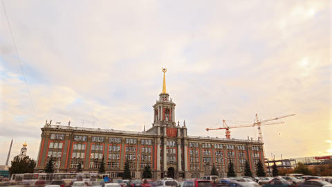 City Hall. Ekaterinburg, Russia. Time Lapse. 4K Stock Video Footage