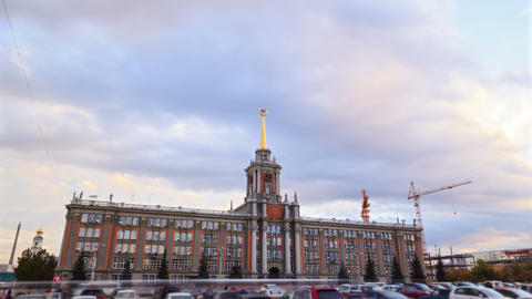 City Hall. Ekaterinburg, Russia. Time Lapse. 4K Footage