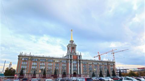 City Hall. Ekaterinburg, Russia. Time Lapse. 4K Stock Video Footage
