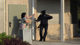 Fights Off An Burglar Masked Attack stock footage