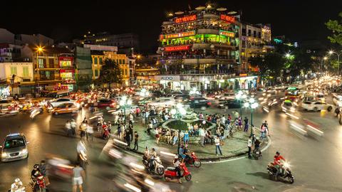 1080 - HANOI, VIETNAM - NIGHT TRAFFIC TIME LAPSE Stock Video Footage