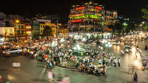 1080 - HANOI, VIETNAM - NIGHT TRAFFIC TIME LAPSE Stock Video Footage