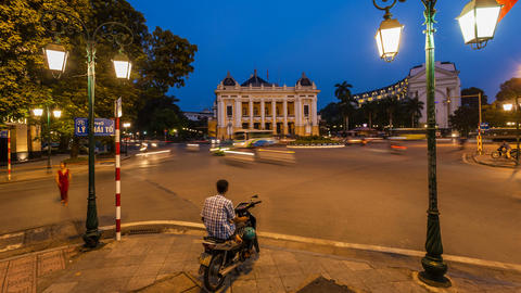 1080 - Hanoi Opera House - Zoom Time Lapse - Vietn Stock Video Footage