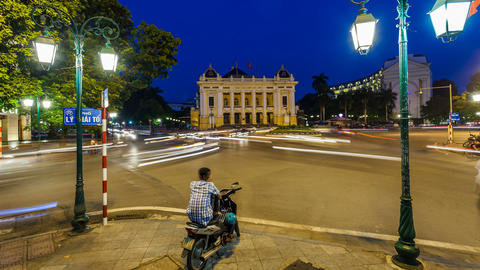 1080 - Hanoi Opera House - Zoom Time Lapse - Vietn Footage