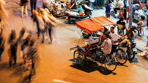 1080 - HANOI CYCLO TIME LAPSE - HOAN KIEM, VIETNAM Stock Video Footage