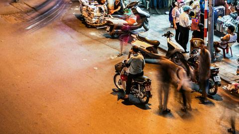 1080 - HANOI CYCLO TIME LAPSE - HOAN KIEM, VIETNAM Stock Video Footage
