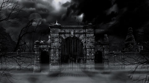 Scary cemetery gate (loop) Stock Video Footage