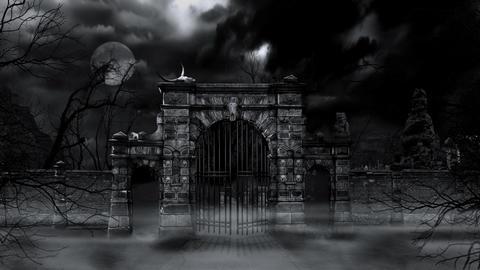 Scary cemetery gate (loop) Stock Video Footage