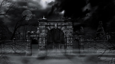Scary cemetery gate (loop) Animation