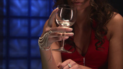 Sexy Girl With A Glass stock footage