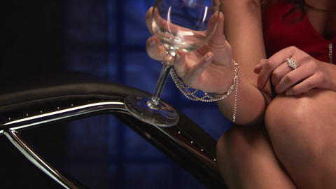 Sexy girl with a glass Stock Video Footage
