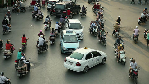 TRACKING HANOI TRAFFIC - HOAN KIEM DISTRICT Stock Video Footage