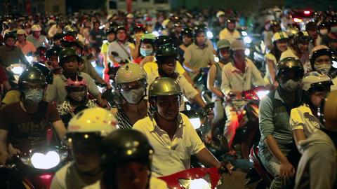 SCOOTER TRAFFIC - SAIGON, VIETNAM Stock Video Footage