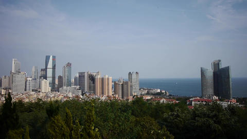 Overlooking urban & sea skyline,china QingDao(tsingtao) Animation