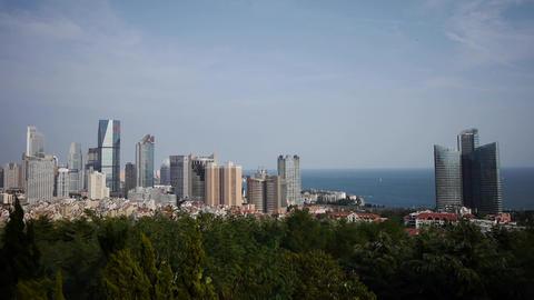 Overlooking urban & sea skyline,china QingDao(tsingtao) Stock Video Footage