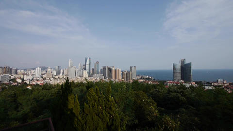 Overlooking urban & sea skyline,china QingDao(tsingtao) Stock Video Footage