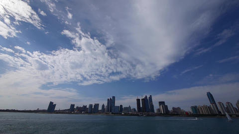 timelapse cloud,business building & sea skyline,busy... Stock Video Footage