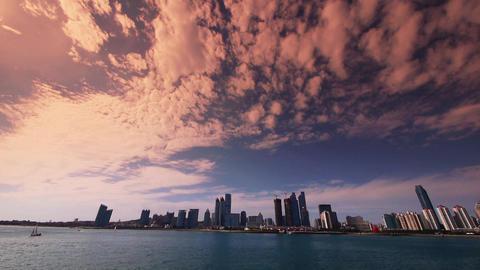 timelapse cloud,sunset business building & sea... Stock Video Footage
