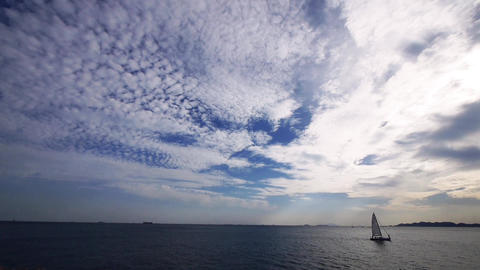 sailboat on sea with cloud Animation