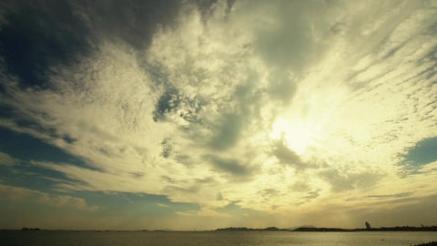 sunset clouds & sea skyline Stock Video Footage