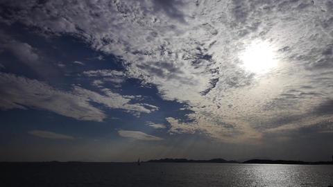 sunset clouds,sunlight reflect on sea skyline Stock Video Footage