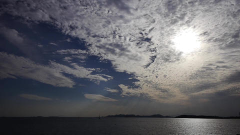 sunset clouds,sunlight reflect on sea skyline Stock Video Footage