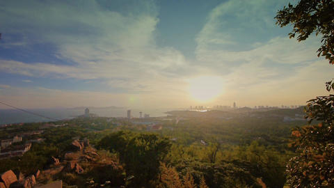 sunset seaside urban skyline & forest,QingDao(tsingtao) Animation
