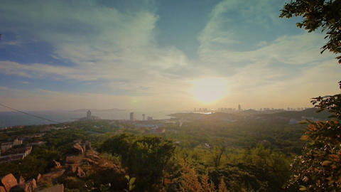 sunset seaside urban skyline & forest,QingDao(tsingtao) Stock Video Footage