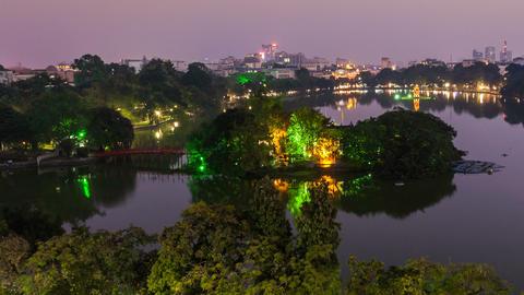 1080 - HANOI HOAN KIEM LAKE - VIETNAM Stock Video Footage