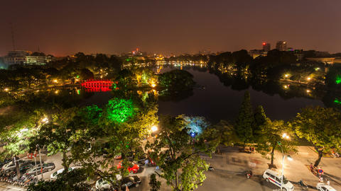 1080 - HANOI HOAN KIEM LAKE - VIETNAM Stock Video Footage