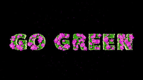 GO GREEN Text 3D Motion Graphics with Alpha Stock Video Footage