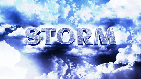 Lightnings on Sky with Clouds and Storm Title Stock Video Footage