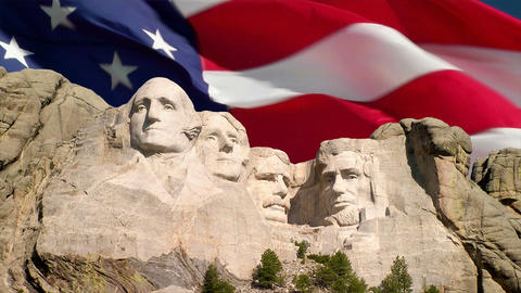 Mount Rushmore and American Flag Stock Video Footage