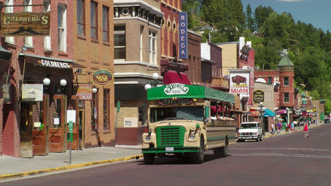 Deadwood Tour Bus stock footage