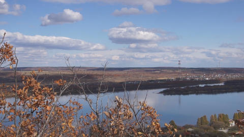 River Amur skyline panoramic view Stock Video Footage
