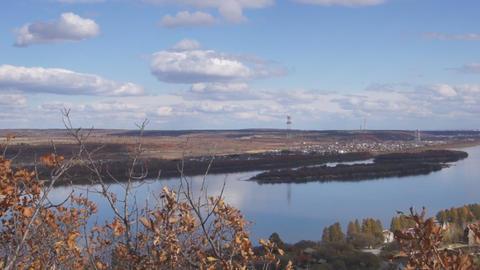 River Amur skyline panoramic view Stock Video Footage