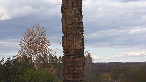 Oroqen Totem pole pan up Stock Video Footage