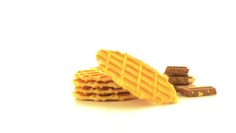 Pile of sweet waffles and chocolate parts Footage