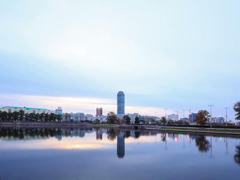 Sunrise on the waterfront. Ekaterinburg, Russia. T Stock Video Footage