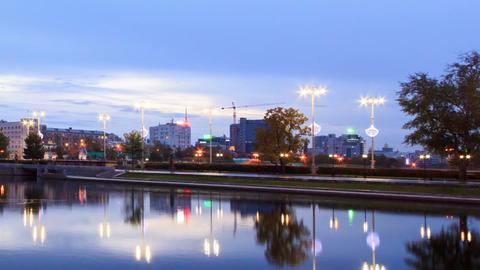 Sunrise on the waterfront. Ekaterinburg, Russia. T Footage
