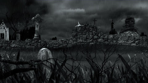 Scary cemetery during rain Stock Video Footage
