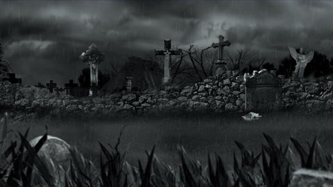 Scary cemetery during rain Animation